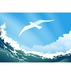 Seagull on the ocean wave vector image