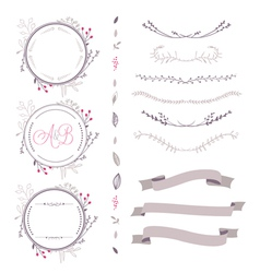 set of floral elements brown colors vector image