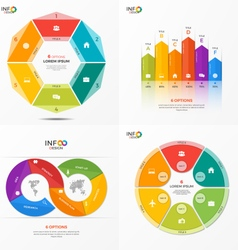 Set of infographic templates with 6 options vector