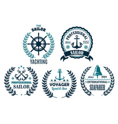 set of nautical heraldic icons for yachting vector image vector image