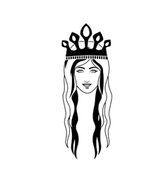 Silhouette head queen long hair and crown vector