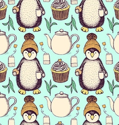 Sketch pinguin in hat with tea vector image
