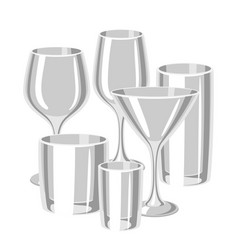 Types of bar glasses set of alcohol glassware vector