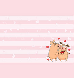 Valentines card with cute pigs vector