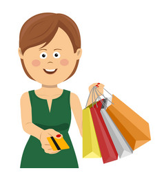 woman giving credit card posing with shopping bags vector image vector image