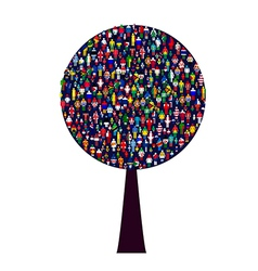 World people tree vector image vector image