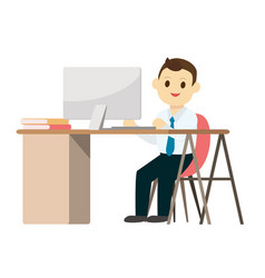 Young business man working on desk with computer vector