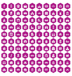 100 building icons hexagon violet vector