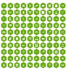 100 insects icons hexagon green vector