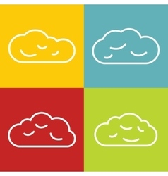 Cloud line icons on color background vector