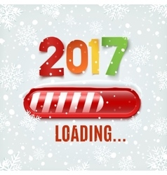 New year 2017 loading bar on winter background vector
