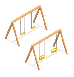 Isometric swings for kids and toddlers vector