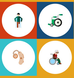 Flat icon handicapped set of equipment injured vector