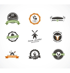 Farm food icons labels and badges vector