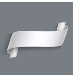 3d curved paper banner isolated on grey vector