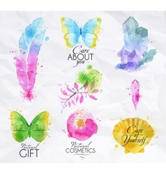 Signs watercolor nature vector