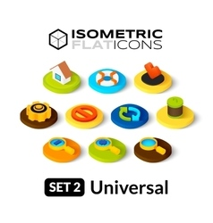 Isometric flat icons set 2 vector
