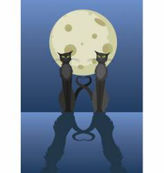 two cats under moon vector image
