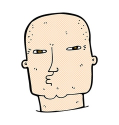 Comic cartoon bald tough guy vector