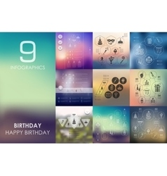 Birthday infographic with unfocused background vector