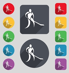 Winter sport hockey icon sign a set of 12 colored vector