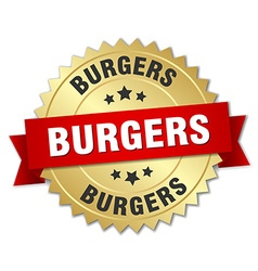 Burgers 3d gold badge with red ribbon vector