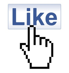 Like button and pixelated hand cursor vector
