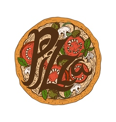 Hand drawn delicious pizza with tomatoes vector