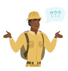 african confused traveler with spread arms vector image