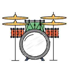 Battery drums musical instrument vector