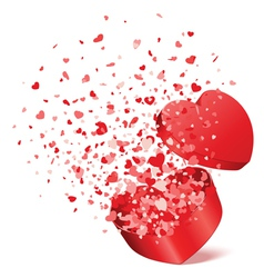 bursting heart gift vector image vector image