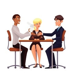 Business discussion at the table of employees vector