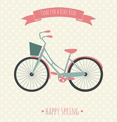 Card with bike Time for a bike ride vector image