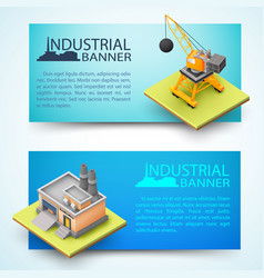 construction vehicle and factory banners vector image
