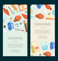 cooking ingridients or groceries vertical vector image vector image