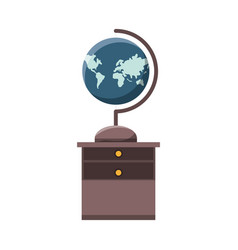 Desk with global planet vector