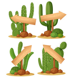 different designs for wooden arrows on cactus vector image