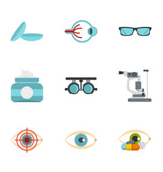 Eye diagnostic icons set flat style vector