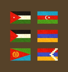 Flags of Jordan Azerbaijan Palestine Armenia vector image