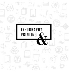Flat line icons of print design process from vector