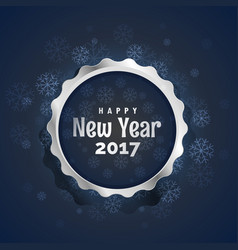 Happy new year 2017 silver badge design with vector
