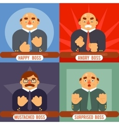 Happy surprised mustache angry adult boss emotions vector