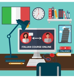 Learning italian online language school education vector