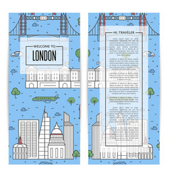 london traveling flyers set in linear style vector image vector image