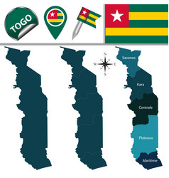map of togo with named regions vector image vector image