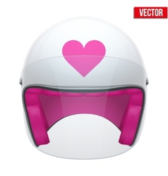 Pink female motorcycle helmet with glass visor vector