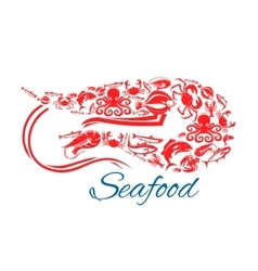 Seafood poster or symbol in shape of shrimp vector image vector image