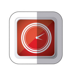 Sticker red square button with silhouette watch vector