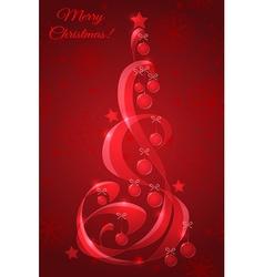 Stylized glass Christmas tree with Christmas balls vector image vector image