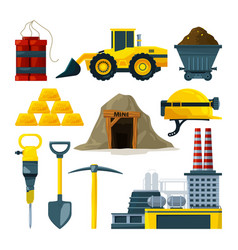 tools for gold mining and minerals vector image vector image